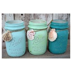 3 mason jars, blues, beach, wedding, turquoise, seafoam green, sea... ❤ liked on Polyvore featuring home, home decor, blue jars, blue home accessories, turquoise home accessories, ball jars and turquoise home decor