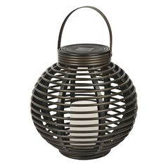 Paradise Garden Lighting Solar Rattan Basket with Candle - GL29353BR