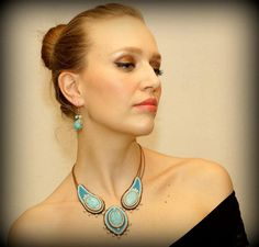 Gemstones necklace  Jewelry necklace  Handmade by PolinessJewelry, $189.00