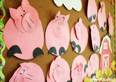 pig cutting and gluing project - circle works - three little pigs Pig Crafts, Animal Crafts, Art For Kids, Crafts For Kids, Arts And Crafts, Kindergarten Art, Preschool Crafts, Traditional Tales, Pig Art