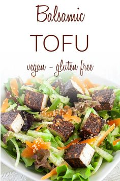 Balsamic Tofu (vegan, gluten free) - This healthy tofu recipe made with a balsamic marinade is great for salads and sandwiches. #balsamictofu #bakedtofu