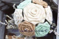 Small Mint Burlap Bouquet Bridesmaid Burlap Bouquet by EmaCreates
