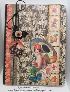 Get tips on how Lyn Bernatovich altered this composition notebook with Tropical Travelogue! Art Journal Pages, Journal Covers, Art Journals, Junk Journal, Binder Covers, Graphic 45, Handmade Journals, Handmade Books, Altered Books