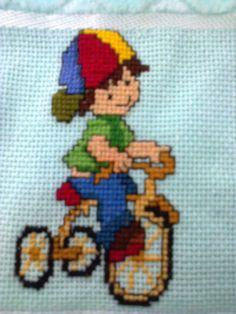 cross stitch boy on bike; menino bicicleta ponto cruz