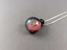 Glass Photo, Leaf Pendant, Red Glass, Glass Pendants, Necklace Lengths, Planets, Opal, Stainless Steel, Pendant Necklace