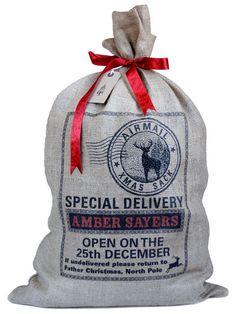 Personalized Santa sack stamp design stag silhouette di sugarushuk