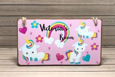 Excited to share the latest addition to my #etsy shop: Personalised Rainbow Unicorn Room Sign, Kids Name Plaque, Bedroom Door Plaque, Unicorn Name Plaque, Rainbow Unicorn Personalised Door Sign