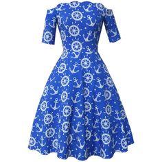 Scallop Off Shoulder Anchor Printed Skater Dress ($42) ❤ liked on Polyvore featuring dresses, skater dress, off the shoulder skater dress, blue off shoulder dress, off the shoulder short dress and blue dress