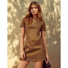 Glamorous Suedette Shift Dress (€62) ❤ liked on Polyvore featuring dresses, brown shift dress, eyelet dress, glamorous dresses, eyelet shift dress и lipsy