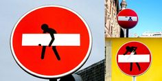 French street artist Clet Abraham lends a wonderfully subversive touch to the traffic signs he strikes. These are immaculate in both execution and wit. Fun!