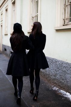 Black coats / tights / heels