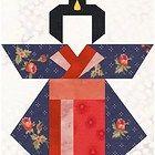 Paper pieced pattern of Geisha girl