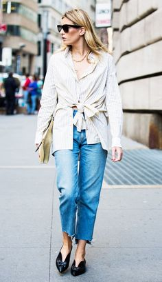 Your go-to summer outfit: Unique Button-Down + Raw-Hem Jeans + Flats