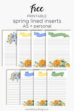 Spring lined planner inserts | floral planner printables | A5 and personal size | #planner #printable #filofax #happyplanner #freeprintables