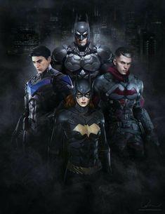 Batman (Bruce Wayne), Batgirl (Barbara Gordon), Nightwing (Dick Grayson), and Red Hood (Jason Todd) | Super Heroes - Sci-Fi Soldiers