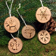 Add to the collection every year...Birch Tree Christmas Ornament - Hand Made Wood Burned Ornament - Set of 5 - Made in the Netherlands