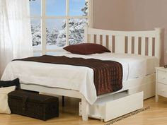 The Kingfisher small double wooden bed frame by Sweet Dreams is a modern take on the traditional shaker style, constructed from sustainable rubberwood with an fresh white finish. Cheap King Size Beds, Oak King Size Bed, Fabric King Size Bed, White King Size Bed, Cheap Beds, Small Double Bed Frames, Double Bed With Storage, Double Beds, Dreams Bed Frames