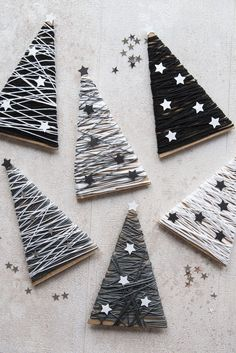 DIY fir-tree decoration for Christmas in black and white. The stylish Christmas decoration for you o Diy Christmas Gifts For Family, Diy Christmas Ornaments, Christmas Projects, Christmas Tree Decorations, Holiday Crafts, Christmas Holidays, Diy Adornos, Diy And Crafts, Fir Tree
