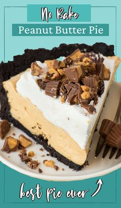 Easy No Bake Desserts, Desserts To Make, Delicious Desserts, Easy Peanut Butter Pie, Peanut Butter Desserts, Tart Recipes, Baking Recipes, Sweet Recipes, Kitchen Recipes