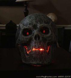 paper mache and glue led skull