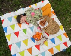 PICNIC BLANKET- Portable Outdoors Camping Beach Blanket in Rainbow Retro Bunting