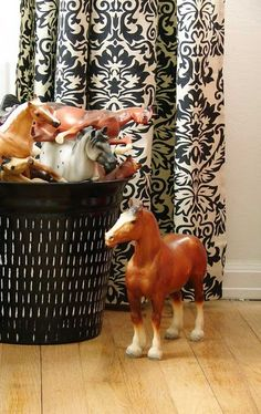 toy horses....love horses...cute curtain and display!