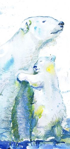 Polar bear Print Watercolor, polar bear Art, polar Bear Baby , polar bear Painting, bear Watercolour art Polar bear Nursery , Arctic Animals  Polar bear with baby high quality fine art print of my original watercolor painting. It is the work of a watercolor series Portraits of the Heart   Size paper: 21 cm x 29,7 cm, 8 1/4 x 11.5/8, A4.(with white borders) - 18.00 $  29,7cm × 42cm, 11,69 × 16,54, A3(with white borders) - 36.00 $  Other dimensions are available upon request The paper used…
