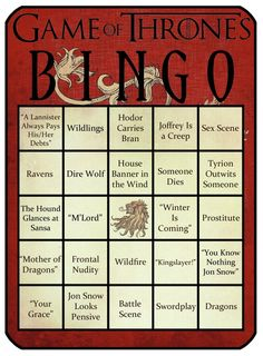 Game of Thrones bingo! Who wants to play? This could easily become a drinking game as well