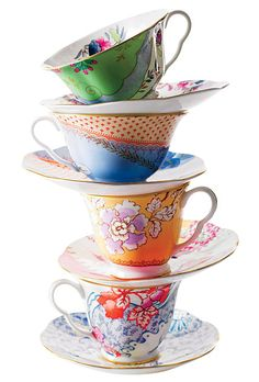 "Brides.com: Wedding Trend: Floral. Break out Wedgwood's ""Butterfly Bloom"" cups and saucers for your first post-wedding tea party.  Tea cups, $50 per cup-and-saucer set, Wedgwood"