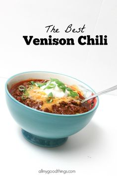 This Venison Chili is the BEST! No gamey flavors. Makes a big batch. Perfect for freezing. Can also be make in the slow cooker. Deer Recipes, Chili Recipes, Slow Cooker Recipes, Crockpot Recipes, Soup Recipes, Cooking Recipes, Healthy Recipes, Game Recipes, Cooking Chili