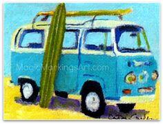 Retro VW van beach home surf wall decor 13x19 by MagicMarkingsArt, $35.00