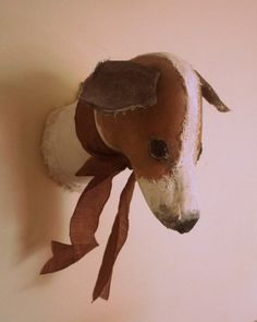 Jack Russell Fabric sculpture faux taxidermy trophy by winding, £140.00