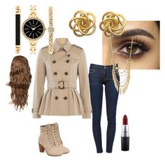 """idk"" by frozen-rain on Polyvore featuring Frame Denim, Burberry, Timberland, Style & Co., Panacea and MAC Cosmetics"
