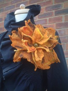 felted flower corsage pin brooch handmade, felted wool flower, art to wear flower, amber, silk  gift mothers day