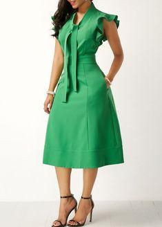 High Waist Tie Neck Pocket Green Dress - Trend Way Dress African Print Dresses, African Fashion Dresses, African Dress, Sexy Dresses, Beautiful Dresses, Dress Outfits, Casual Dresses, Party Dresses, African Attire