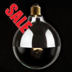 Designer IndustrialVintageStyle 125mm Silver Reflector Mirrored Globe Light Bulb