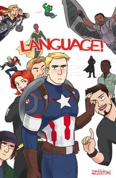 """Foremost among Steve Rogers' regrets is saying """"Language!"""". Right after that is ever getting to know Thor, Hulk, Falcon, Vision, Quicksilver, Scarlet Witch, Fury, Black Widow, Hawkeye, Rhodey, Bucky Barnes and Tony Stark in the first place. - Visit to grab an amazing super hero shirt now on sale!"""