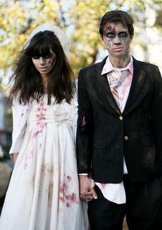 married couple DIY zombie costume, see more at http://diyready.com/18-diy-zombie-costume-ideas