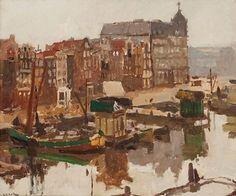 G.H.Breitner 1857-1923 ''Damrak met Victoriahotel'' , Amsterdam Olieverf op karton 63,5 x 76 cm. Gesigneerd Van Voorst van Beest Gallery