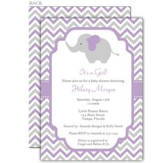 Invite guests to your girl baby shower with this purple and gray chevron striped invitation featuring an elephant.