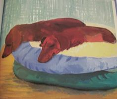 David Hockney dachshund painting.  View from the Birdhouse: Dear Abby: David Hockney's Dog Days