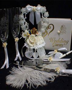 Wedding Champagne Flutes And Cake Server Sets