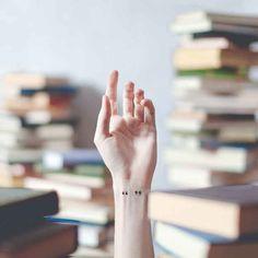 tatouage citation avec guillemets sur le poignet / citation tattoo on the wrist by photographer austin tott Mini Tattoos, Little Tattoos, Wrist Tattoos, Cute Tattoos, Beautiful Tattoos, Small Tattoos, Tatoos, Tattoo Finger, Tattoo Hand