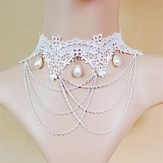 Wedding Choker Necklace with Drop Pearls Crossed Chain Tassel White Lace Collar for Bridal Bridesmaid