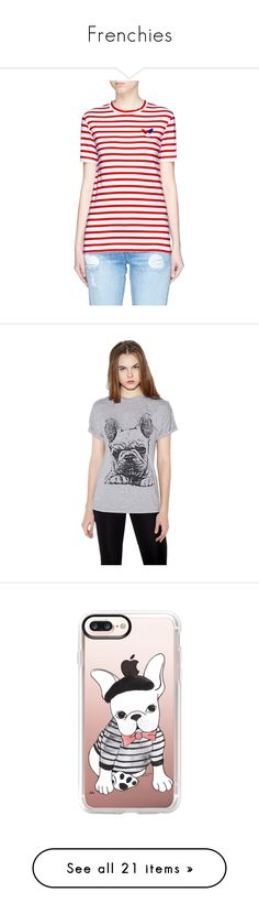 """""""Frenchies"""" by christinachase-1 on Polyvore featuring tops, t-shirts, red, nautical stripe t shirt, graphic tees, graphic design t shirts, red striped t shirt, red stripe t shirt, grey tee and preppy tops"""