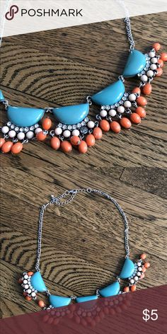 Necklace Silver teal and orange statement necklace. Only flaws is one missing bead, as shown in the picture. Jewelry Necklaces