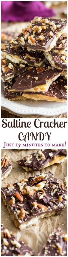 How to make Saltine Toffee/ Saltine Cracker Candy! The EASIEST candy, everyone loves this! How to make Saltine Toffee/ Saltine Cracker Candy! The EASIEST candy, everyone loves this! Saltine Cracker Candy, Cracker Toffee, Saltine Crackers, Saltine Toffee, Saltine Cracker Recipes, Crack Crackers, Graham Crackers, Mini Desserts, Sweets
