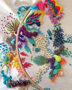 eautiful detail by via ✨✨ Abstract Embroidery, Modern Embroidery, Hand Embroidery Patterns, Beaded Embroidery, Cross Stitch Embroidery, Crazy Quilting, Fabric Art, Sewing Crafts, Crochet