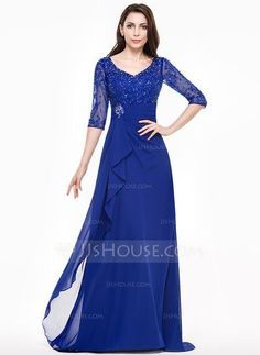 [US$ 186.49] A-Line/Princess V-neck Sweep Train Mother of the Bride Dress With Lace Beading Sequins Cascading Ruffles (008065593)