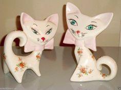 Mid Century Modern Cat Figurines Abstract Atomic Era Holt Howard Style Eames Era